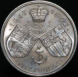1997-Elizabeth-II-039-Golden-Wedding-039-Five-Pounds-Coin-Cupro-Nickel-KM-Coins