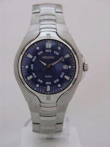Seiko mens watches quartz blue dial stainless steel bracelet caliber 7N42 SGEA71