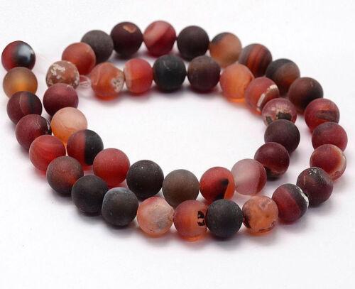 54 Natürliche Indische Achat Perlen 6mm Frosted Rot  Rund Edelsteine DIY G734#3