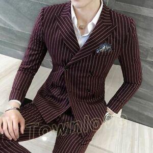 Chic-Mens-Slim-Fit-Stripe-Double-Breasted-Suit-Blaser-Jacket-3PC-Coat-Vest-Pants