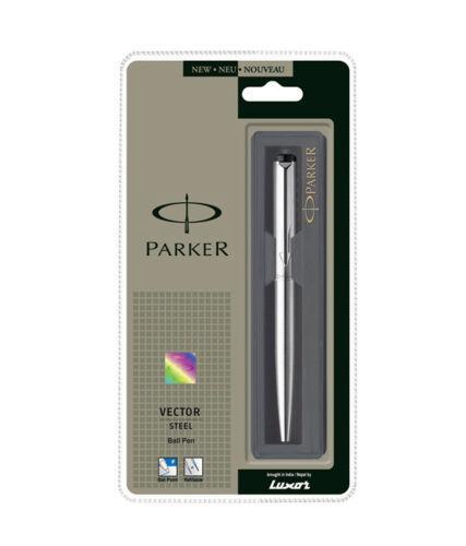 Parker Vector Edelstahl Ss CT Kugelschreiber Blauer Tinte Chrom Zierleiste USA