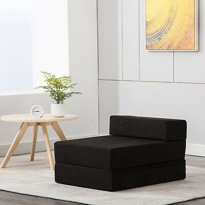 Kenwell Single Sleeper Chair Folding Foam Bed Mattress Floor Ottoman Seat Black