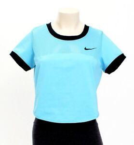 1b9590d9dd631 Nike Dri Fit Omega Blue Premier Tennis Crop Top Short Sleeve Women s ...