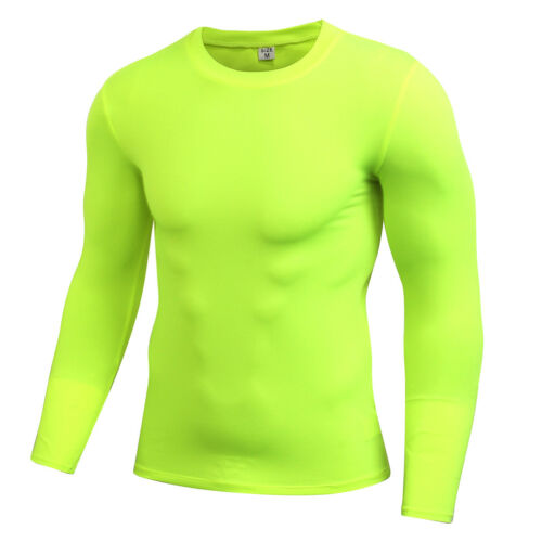 Mens Gym Compression Workout Base Layer Running Basketball Plain Shirts Cool Dry