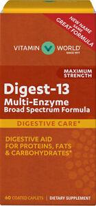 Digest -13 Multi-Enzyme Digestive Care - 60 Caplets (No box)