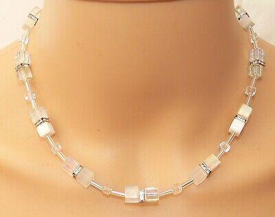 Halskette Würfelkette Kette cube schwarz grau weiss Glas crash Modeschmuck 134g