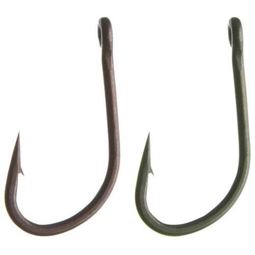 Pro Carp Teflonhaken T3 Karpfenhaken Gr 8 grün und braun  10Stück Angelhaken