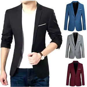 91164f34924 Men s Casual Slim Fit Formal One Button Suit Blazer Coat Jacket Tops ...