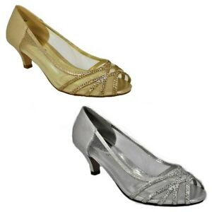 Low Ladies Wedding Heel Evening Bridesmaid Prom Bridal Womens Shoes rQsthd