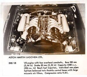 Aston Martin Dbs V8 Engine Original Uk Market Press Photograph Ebay
