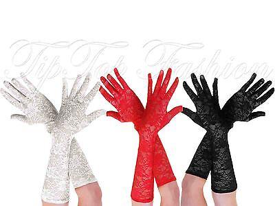 Ausdauernd Mädchen Damen Lang Spitze Handschuhe 1950s Jahre Moulin Rouge Burleske Kostüm
