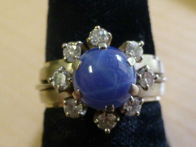 Vintage 14k White Gold Blue Star Sapphire & Diamond Ring - Size 5.75
