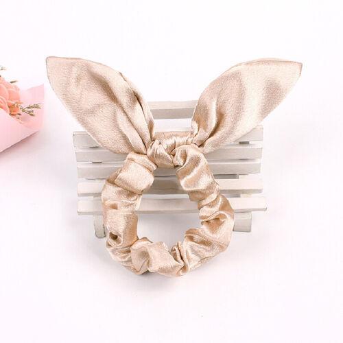 Cute Rabbit Ear Bowknot Hair Scrunchies Rubber Rope Ponytail Holder Hair Ties H1