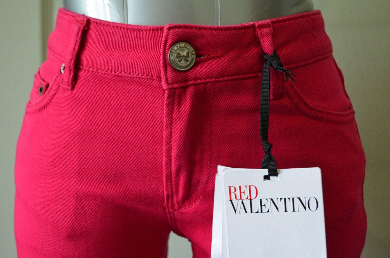 Neuf avec étiquettes rot Valentino Jeans 25 W SUPER MIGNON PANTALON SLIM Magenta Bow Designer XS