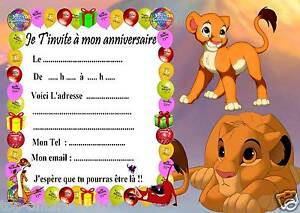 Détails Sur 5 Cartes Invitation Anniversaire Le Roi Lion 04 Dautres Articles En Vente