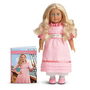 "American Girl CAROLINE MINI DOLL 6"" + Book Blonde Pink Dress Retired Version"