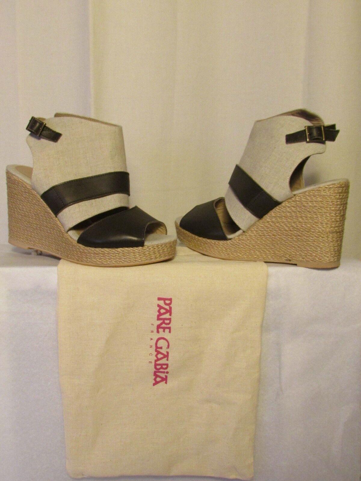 Sandales compensées PARA GABIA  toile tissée et cuir marron 40