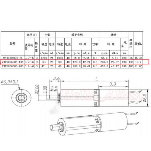 DC 1.5V-3V Mini Motor Caja De Cambios Engranaje Planetario Coreless Reductor de deceleración del motor