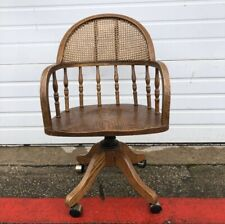 Wood Cane Back Home Office Swivel Chair Pickup Only