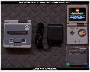 Nintendo Game Boy Advance GBA SP IPS MOD System 10 Level Brightness - SNES LE