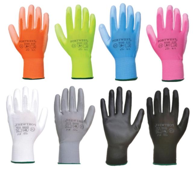 scarpe da corsa scopri le ultime tendenze professionista di vendita caldo Portwest PU Palm Coated Safety Work Gardening Builders Gloves Breathable  A120