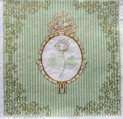 4 x Single Vintage Table PAPER NAPKINS ROSE IN GOLD / DECOUPAGE / CRAFT/ LUXURY