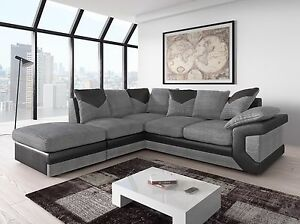 Image Is Loading Large New Dino Corner Sofa Settee Grey Black