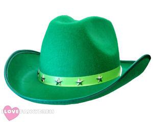 GREEN STAR STUDDED COWBOY HAT WILD WEST WESTERN COWGIRL FANCY DRESS ... a85678b61f4