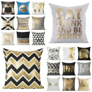 modern kissenbez ge dekokissen kissenh lle 45x45 40x40 schwarz wei gold silber ebay. Black Bedroom Furniture Sets. Home Design Ideas