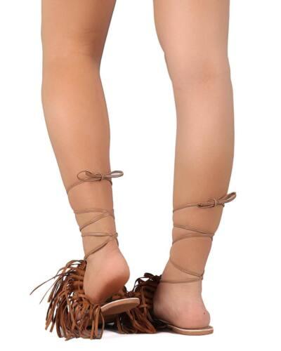 New Women Qupid Auston-01 Mix Media Fringe Flip Flop Gladiator Wrap Sandal Size
