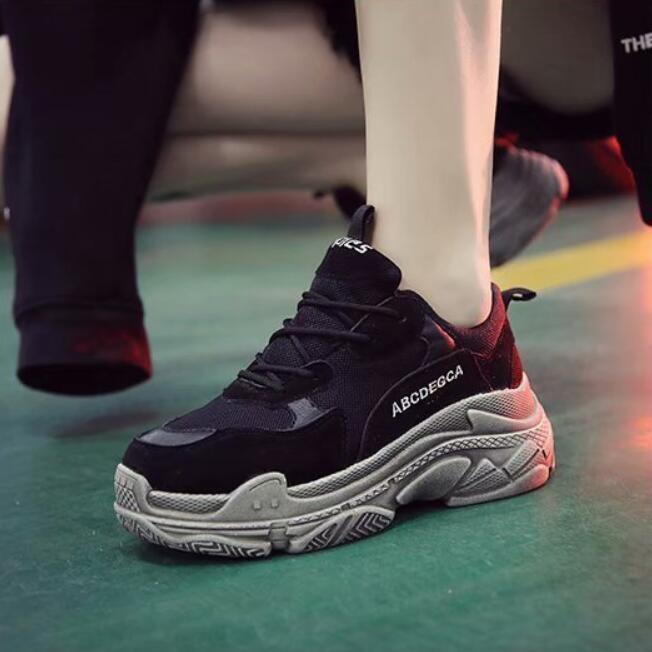 Womens Black Sneakers Platform Wedge Med Heels Running Athletic Shoes Warm X141