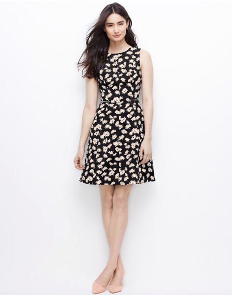 Ann Taylor - Größe 2 (XS) Schwarz Blaumenmuster Zip-Waist Kleid H