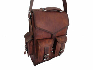 Men-039-s-Vintage-Genuine-Leather-Laptop-Backpack-Rucksack-Messenger-Bag-Satchel-NEW