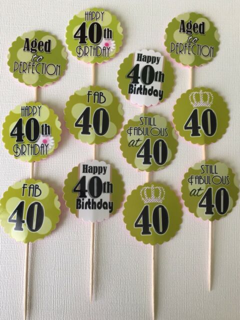 12 Ct 40th Birthday Cupcake Topper Party Favors Table Decor Green Theme