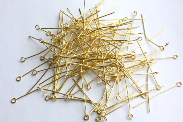 200 CHANDELIER CRYSTAL BEAD METAL CONNECTOR JEWELLERY PART GOLDEN EYE PINS SET