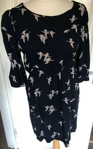 Tom-Joules-Size-Uk-10-Blue-Bird-Print-Tunic-Smock-Dress