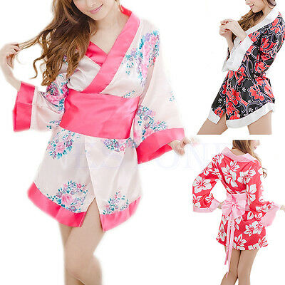 Sexy Sexy Floral Japanese Kimono Stage Sleepwear Lingerie Dress Bath Robe Pajama