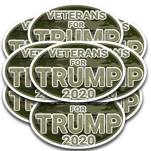"Veterans for Trump 2020 Bumper Stickers Oval Decals Woodland Camo 5/"" 10 pack"