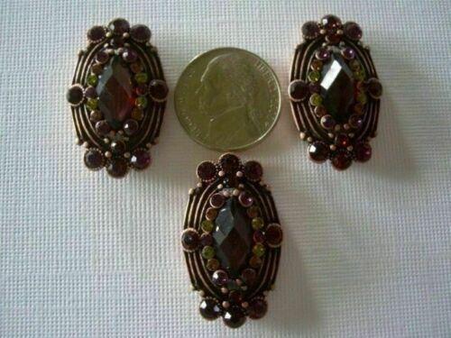 2 Hole Slider Beads Framed Cabachon Multi Color Made w//Swarovski Elem Copper #3