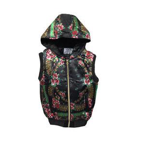 ladies-gilet-body-warmer-jacket-black-floral-Padded-Warm-trendy-size-12-NEW