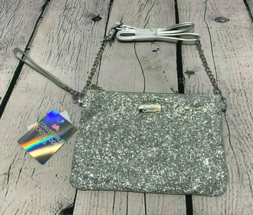 NEW Girls Justice Silver Glitter Convertible Crossbody Bag Purse