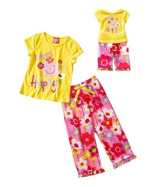 "Girl Sz 4-16 and 18"" doll matching Pajama set fit american girl and dollie & me"