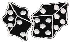 bk37 Würfel Schwarz Weiß Aufnäher Bügelbild Rockabilly Dice Patch 9,0 x 5,3 cm