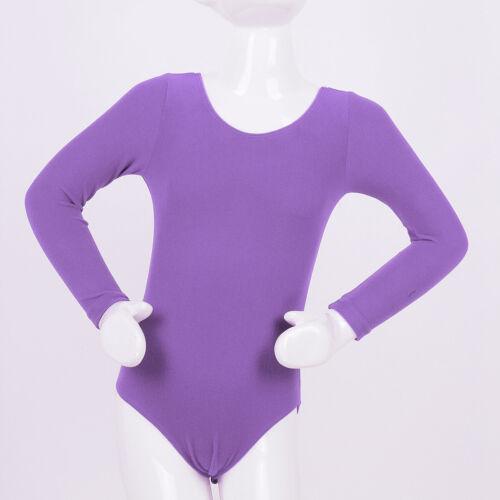 Kid Girl Ballet Gymnastics Leotard Dancewear Long Sleeve Bodysuit Costume