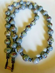 Vintage-Chinese-Hand-Painted-Porcelain-Gray-Blue-Heavy-Glass-Bead-Necklace
