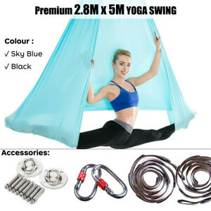 5 x 2.8m Aerial Anti-Gravity Yoga Hammock Invertion Swing Trapeze + Accessories