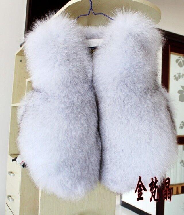 100% Real genuine bluee (Vulpes lagopus) fox fur gilet waistcoat
