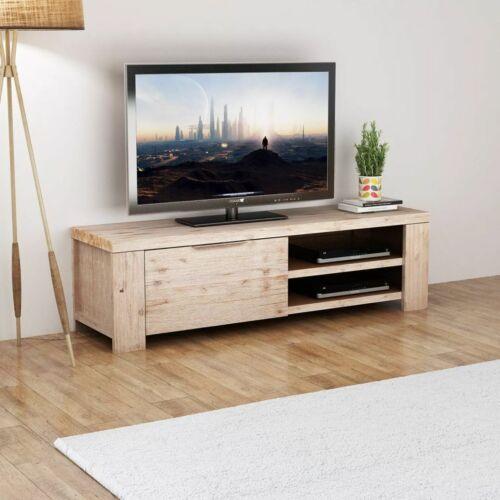 vidaXL TV Schrank Fernsehtisch TV-Möbel Gehobeltes Akazienholz 140 x 38 x 40 cm