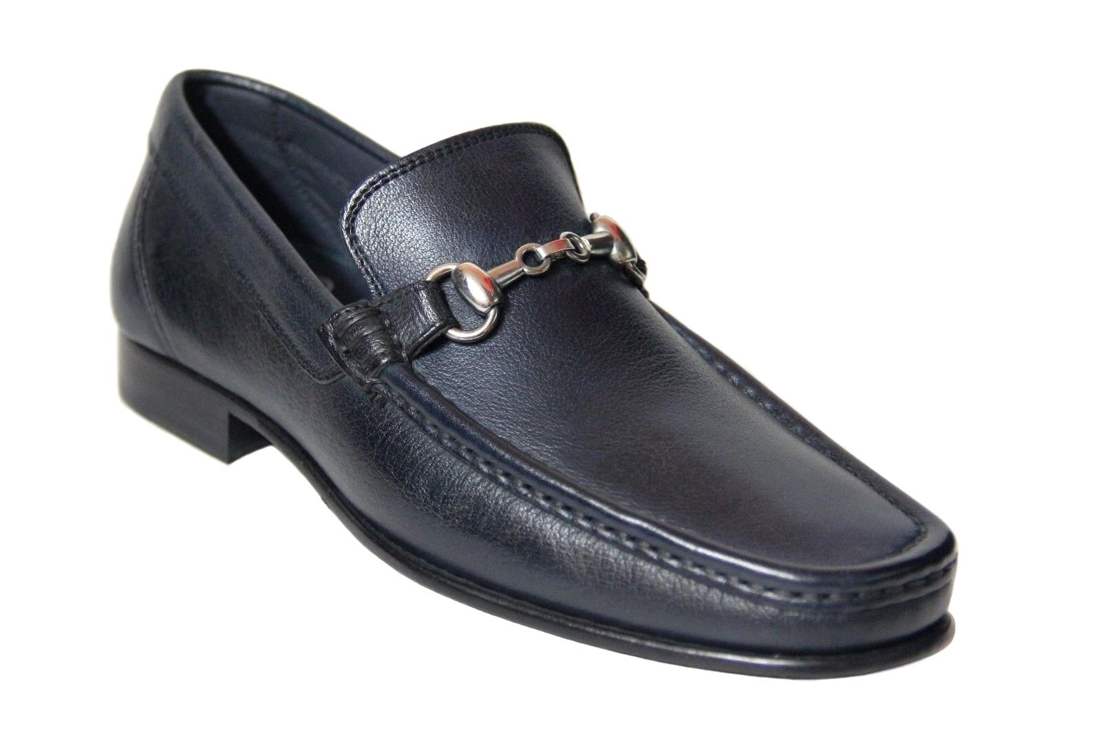 Calzoleria Toscana Men's Slip On Navy bluee Leather Hand Craft Loafer shoes 8616