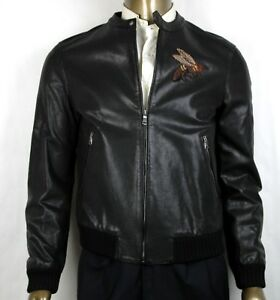 4750-Gucci-Men-Black-Washed-Calf-Bomber-Jacket-w-bee-Embroidery-50R-408375-1300